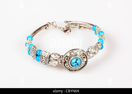 Silver bracelet with turquoise - Stock Photo