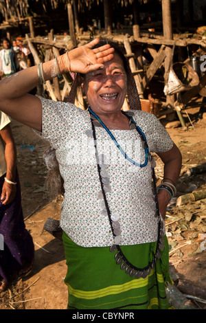 India, Arunachal Pradesh, Along, Kombo, Hurin harvest festival, women wearing necklace made of old silver coins - Stock Photo