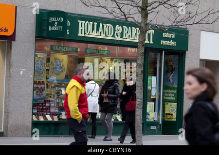 Holland and Barrett health food shop, retailer of vitamins, minerals and herbal supplements UK