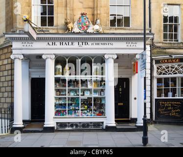 Historic chemist's shop (1826) in Argyle Street, Bath, Somerset, England, UK.Chemists - Stock Photo