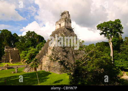 TIKAL, Guatemala - Temple 1, also known as the Temple of the Great Jaguar or Temple of Ah Cacao in the Tikal Maya - Stock Photo