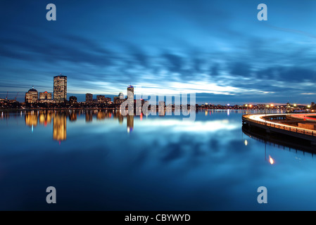 Boston's Back Bay Reflected in December Twilight - Stock Photo