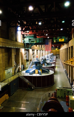 HOOVER DAM, Nevada - The tops of the massive turbines generating electricity from the water flowing through the - Stock Photo