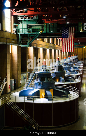 HOOVER DAM, Nevada - The tops of the 8 massive turbines on the Nevada side of the Hoover Dam (the Arizona side has - Stock Photo