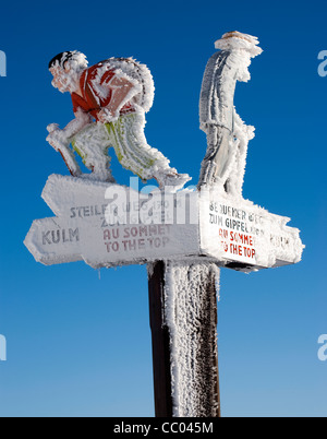 Frozen, snow covered sign post, Mt Rigi, Switzerland