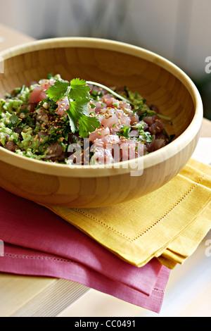 Red Tuna Tartar with Avocado - Stock Photo