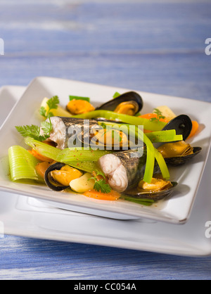 Mackerels and Mussels Sea Soup - Stock Photo