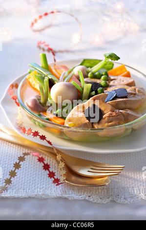 Pot-au-Feu with Foie Gras - Stock Photo