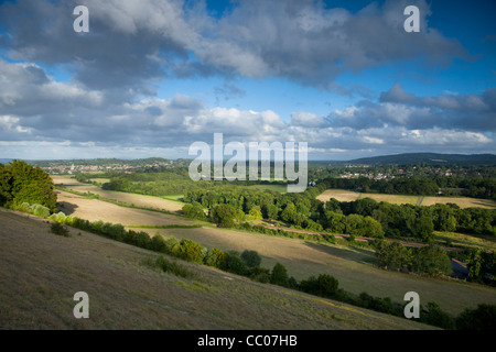 View south from Ranmore Common, Dorking, Surrey Hills, North Downs, Surrey - Stock Photo