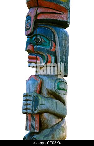 Totem pole isolated on white background - Stock Photo