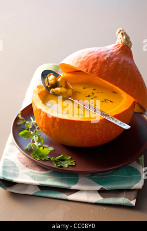 Cream of Pumpkin Soup with Bouchot Mussels