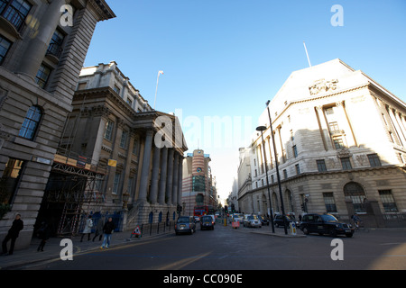 bank junction of lombard street, mansion house street princes street in the financial area of the city of london - Stock Photo