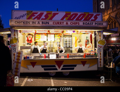 fast food stall at Bury St Edmunds Christmas market in 2011 - Stock Photo