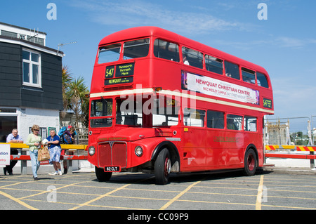 An ex London Routemaster bus operated by Western Greyhound waits in the bus station at St ives, Cornwall - Stock Photo