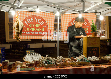 French food stall in evening in Bury St Edmunds, Suffolk UK - Stock Photo