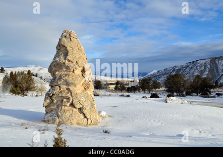 Liberty Cap, a travertine tower from a dormant hot spring. Mammoth Hot Springs, Yellowstone National Park, Wyoming, - Stock Photo