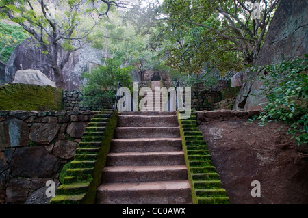 Stairs towards tho top of Sigiriya (Lion's rock), Sri Lanka - Stock Photo