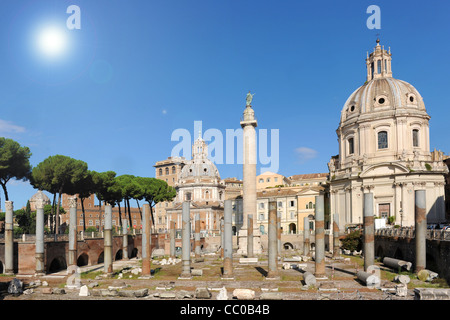 Trajan's Forum (Forum Traiani) with Trajan's Column and Santa Maria di Loreto church on background. Trajan's Forum - Stock Photo