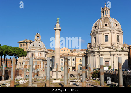Temple Of Trajan imperial forum in Rome - Stock Photo