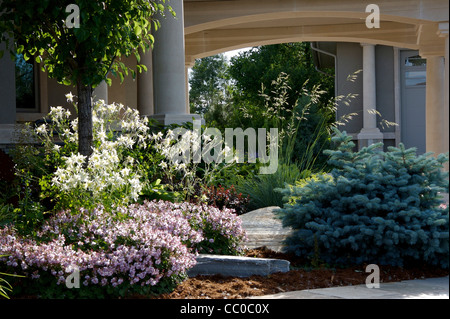 Late afternoon garden in its prime - Stock Photo