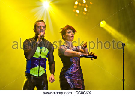Scissor Sisters performing live - Ana Matronic and Jake Shears - Stock Photo