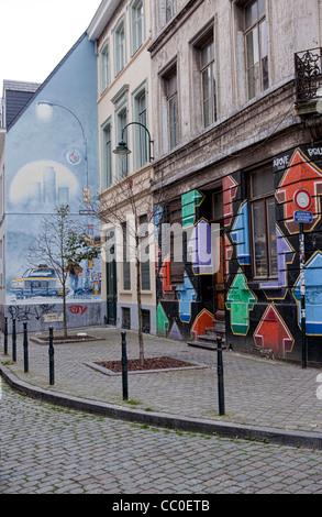 Street art in Brussels - Stock Photo