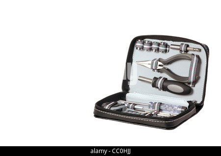 Selection of tools in handy carry case with white background - Stock Photo