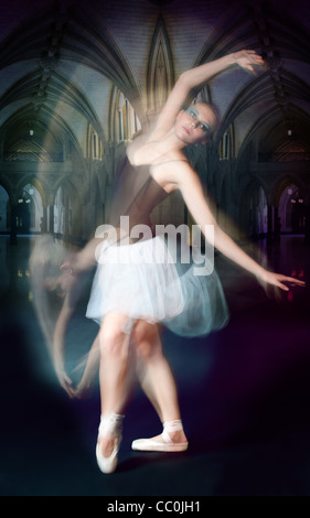 ballet dancer shoot in motion shoot made by both impulse and continues lights - Stock Photo