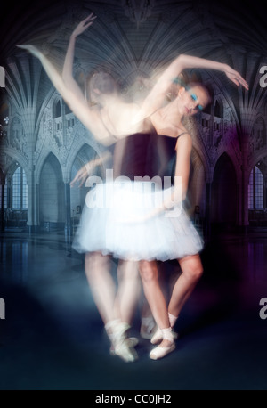 ballerina in motion shoot made by both impulse and continues lights - Stock Photo
