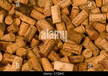 Close-up of Pile of Chianti Wine Corks, Tuscany (Toscana), Italy - Stock Photo