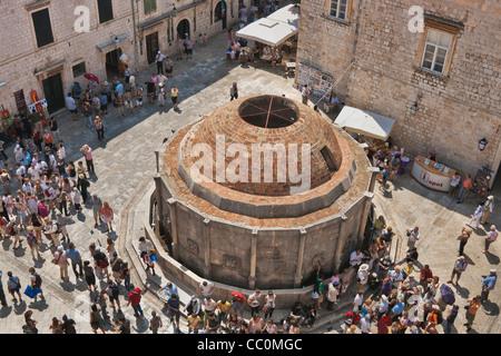 The Onofrio fountain was in the 15th Century built. Dubrovnik, Dalmatia, Croatia, Europe - Stock Photo