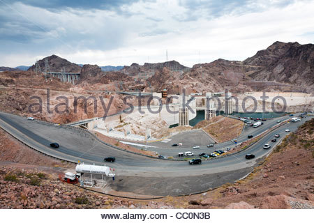 View from above of the Hoover Dam near Boulder City, Nevada, United States - Stock Photo