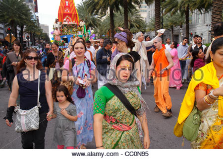 New Orleans Louisiana downtown Canal Street Festival of India Rath Yatra Hare Krishna Hinduism Eastern religion - Stock Photo