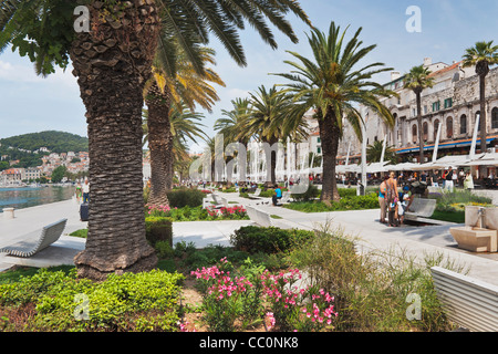 Seafront, called Riva at the city port of Split, Dalmatia, Croatia, Europe - Stock Photo
