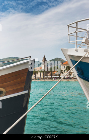 View over the port of Trogir to the bell tower of the Dominican Monastery, Sveti Dominik, Trogir, Dalmatia, Croatia, - Stock Photo