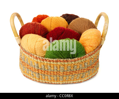 basket of wool yarn from iceland in earth tones - Stock Photo