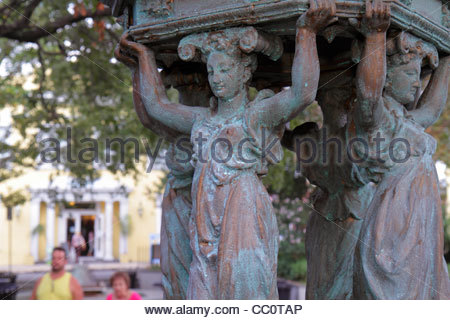 New Orleans Louisiana French Quarter French Market Latrobe Park sculpture Charles Le Bourg cast iron female caryatid - Stock Photo
