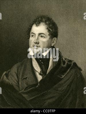 1830 engraving of Thomas Moore. - Stock Photo
