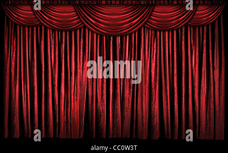 Bright red curtains on stage with lights and shadows - Stock Photo