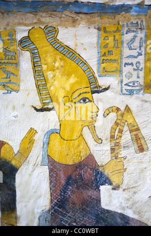 Decorated walls in the tomb of Bannentui sited in Qarat Qasr Salim ...