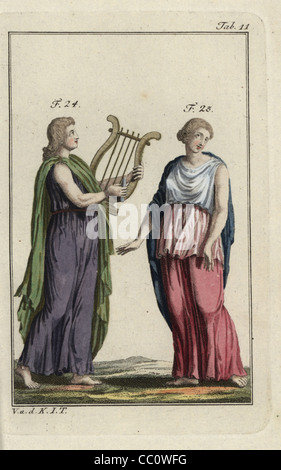 Emperor Nero playing a harp and woman in Greek cloak, Peplos. - Stock Photo