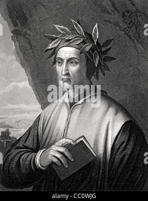 Dante Alighieri (1265-1321) Italian Poet, Writer & Political Thinker c19th Portrait Engr by Wagstaff Painting by - Stock Photo