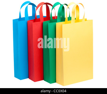 four color paper bags isolated on white - Stock Photo