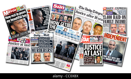 British National Papers front page coverage of the Stephen Lawrence murder trial 2012. - Stock Photo