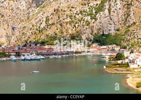 Aerial view on old town of Kotor - UNESCO place - Montenegro. - Stock Photo