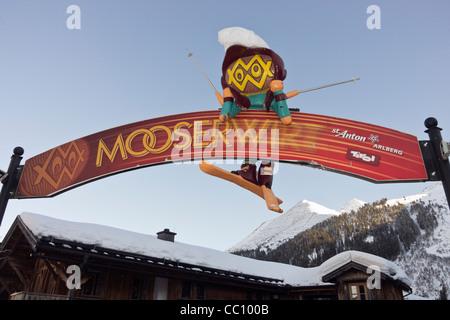 St Anton am Arlberg, Tirol, Austria, Europe. Sign for the Mooserwirt apres ski bar in Austrian Alps - Stock Photo