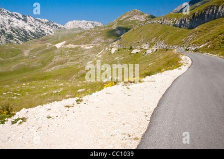 Asphalt mountain narrow route in Durmitor mountain - Montenegro. - Stock Photo