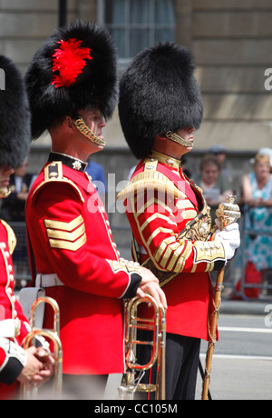 Military band wearing bearskin hats on Veterans' Day in London, England - Stock Photo