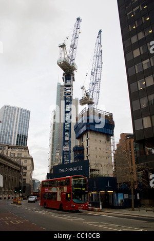 Cranes on the site of the new Pinnacle building on Bishopsgate Central London UK - Stock Photo