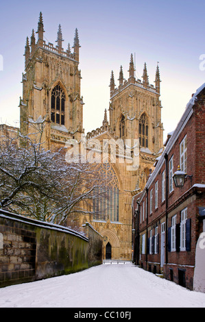York Minster in the snow seen from Precentors Court - Stock Photo